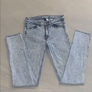 High Waist Acid Wash Skinny Jeans